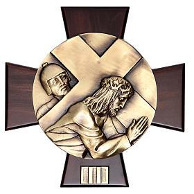 Vía Crucis 14 estaciones latón fundido sobre placa madera s2