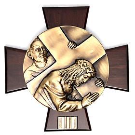 Vía Crucis 14 estaciones latón fundido sobre placa madera s3