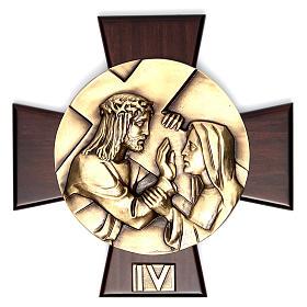 Vía Crucis 14 estaciones latón fundido sobre placa madera s4
