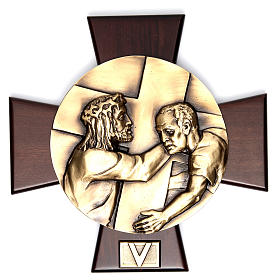 Vía Crucis 14 estaciones latón fundido sobre placa madera s5
