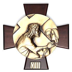 Vía Crucis 14 estaciones latón fundido sobre placa madera s8