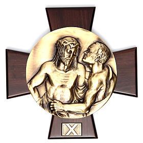 Vía Crucis 14 estaciones latón fundido sobre placa madera s10