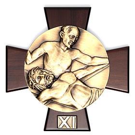 Vía Crucis 14 estaciones latón fundido sobre placa madera s11