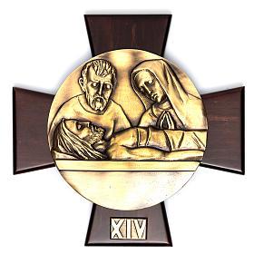 Vía Crucis 14 estaciones latón fundido sobre placa madera s14