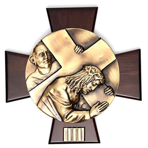 Vía Crucis 14 estaciones latón fundido sobre placa madera 3