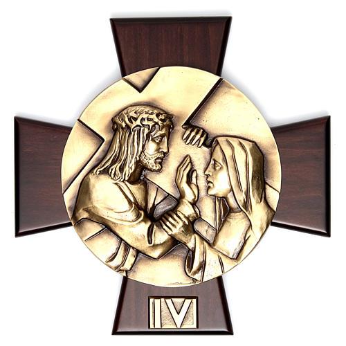 Vía Crucis 14 estaciones latón fundido sobre placa madera 4