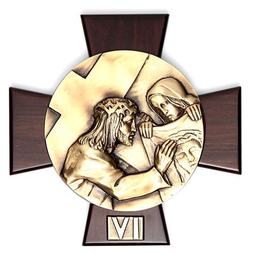 Vía Crucis 14 estaciones latón fundido sobre placa madera 6