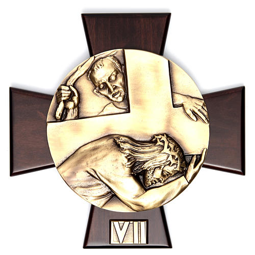 Vía Crucis 14 estaciones latón fundido sobre placa madera 7