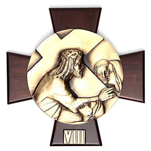Vía Crucis 14 estaciones latón fundido sobre placa madera 8