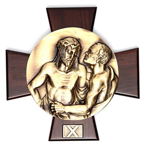 Vía Crucis 14 estaciones latón fundido sobre placa madera 10