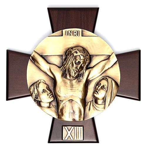 Vía Crucis 14 estaciones latón fundido sobre placa madera 12