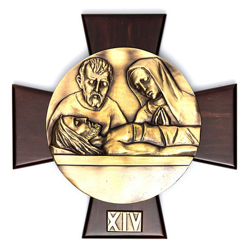 Vía Crucis 14 estaciones latón fundido sobre placa madera 14