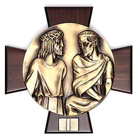 Via Crucis 14 stazioni ottone fuso su placca legno s1