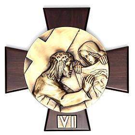 Via Crucis 14 stazioni ottone fuso su placca legno s6