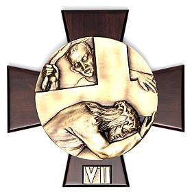 Via Crucis 14 stazioni ottone fuso su placca legno s7