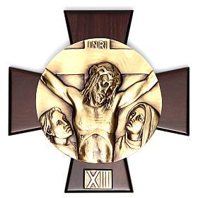 Via Crucis 14 stazioni ottone fuso su placca legno s12