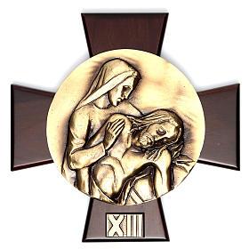Via Crucis 14 stazioni ottone fuso su placca legno s13