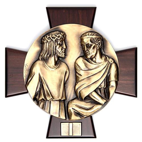 Via Crucis 14 stazioni ottone fuso su placca legno 1