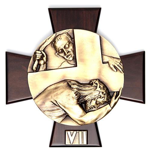 Via Crucis 14 stazioni ottone fuso su placca legno 7