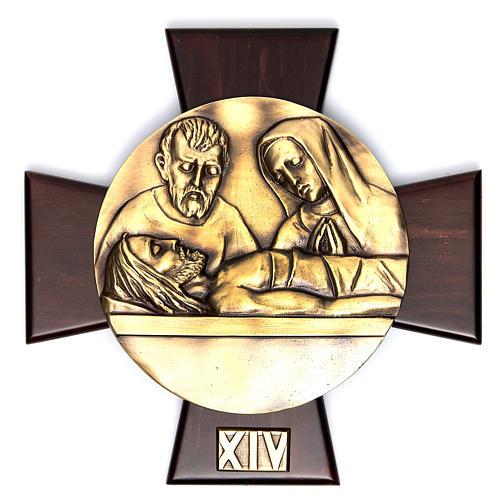 Via Crucis 14 stazioni ottone fuso su placca legno 14