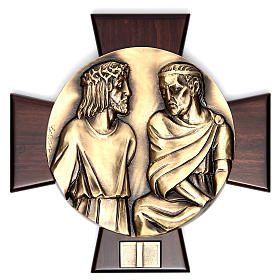 Way of the Cross: 14 Stations of the Cross in brass and wood.