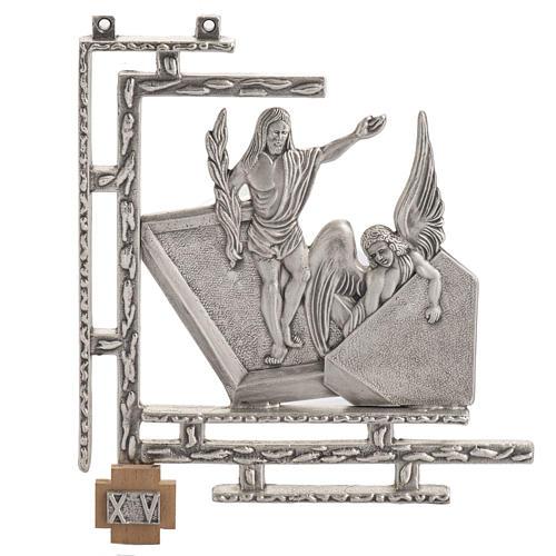 Via Crucis 15 stazioni in bronzo argentato crocetta legno 1