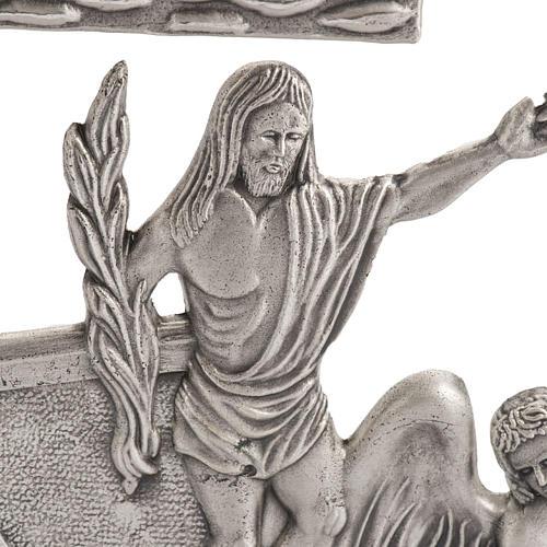 Via Crucis 15 stazioni in bronzo argentato crocetta legno 2