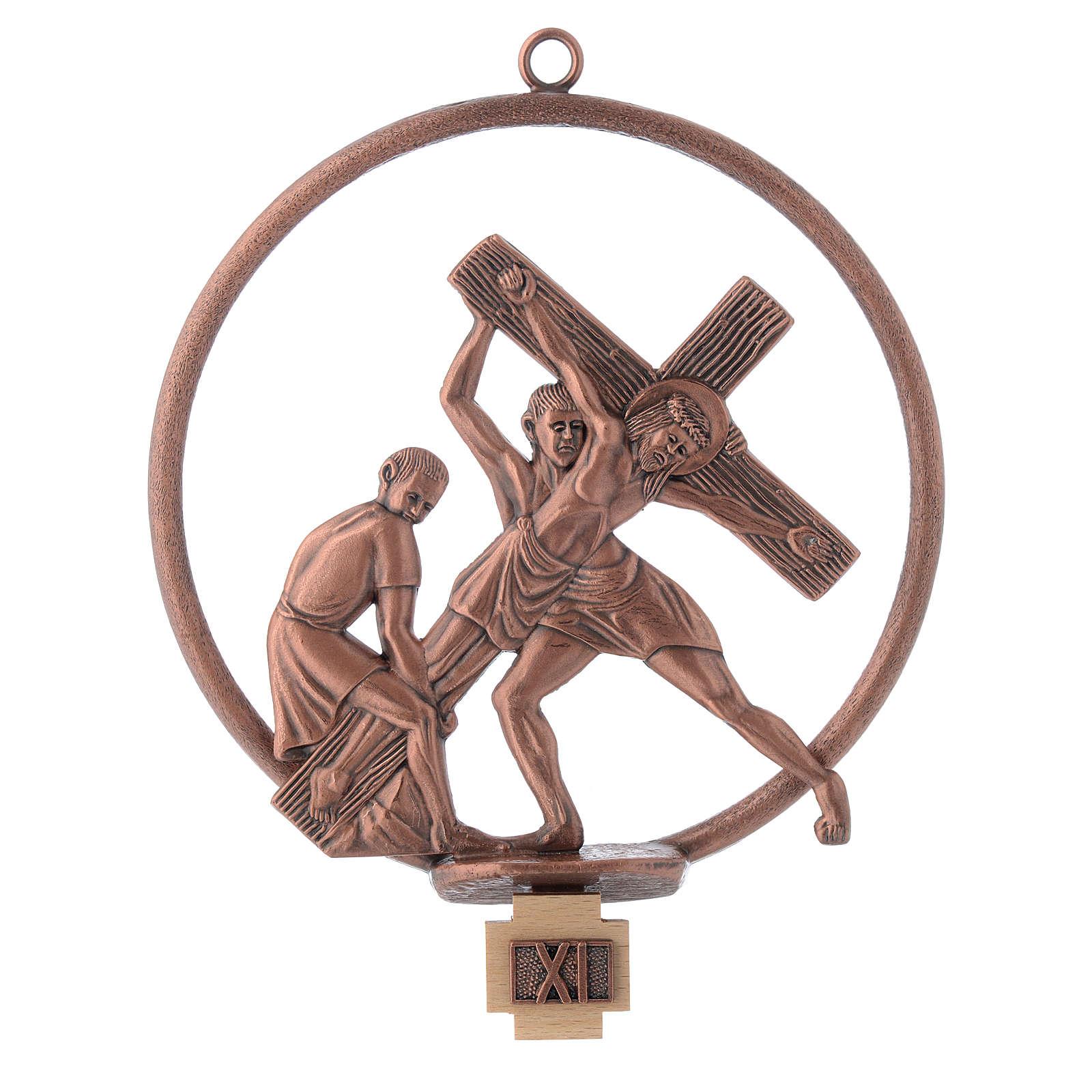 Via Crucis 15 stazioni tonda bronzo ramato 4