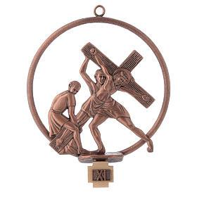 Via Crucis 15 stazioni tonda bronzo ramato s11