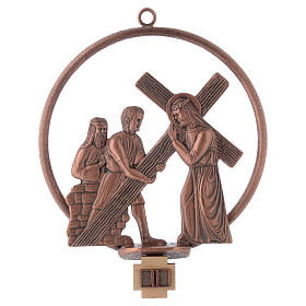Way of the cross in copper plated bronze, 15 round stations s2