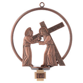 Way of the cross in copper plated bronze, 15 round stations s4