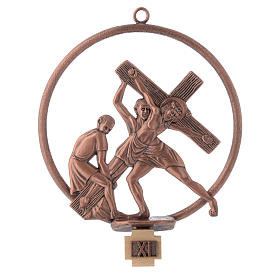 Way of the cross in copper plated bronze, 15 round stations s11