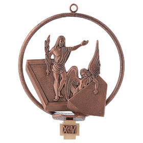 Way of the cross in copper plated bronze, 15 round stations s15