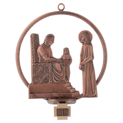 Way of the cross in copper plated bronze, 15 round stations 1