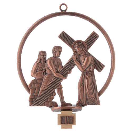 Way of the cross in copper plated bronze, 15 round stations 2