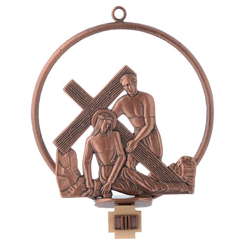 Way of the cross in copper plated bronze, 15 round stations 3