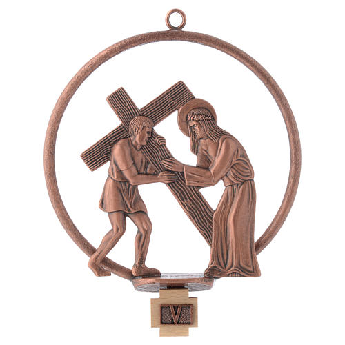 Way of the cross in copper plated bronze, 15 round stations 5