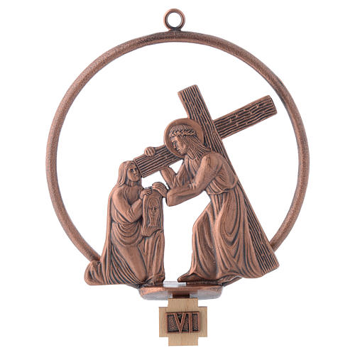 Way of the cross in copper plated bronze, 15 round stations 6