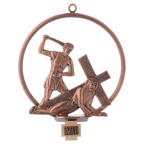 Way of the cross in copper plated bronze, 15 round stations 7