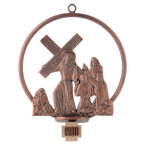 Way of the cross in copper plated bronze, 15 round stations 8