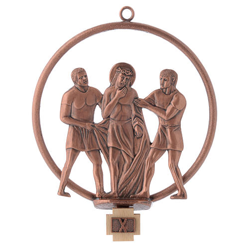 Way of the cross in copper plated bronze, 15 round stations 10