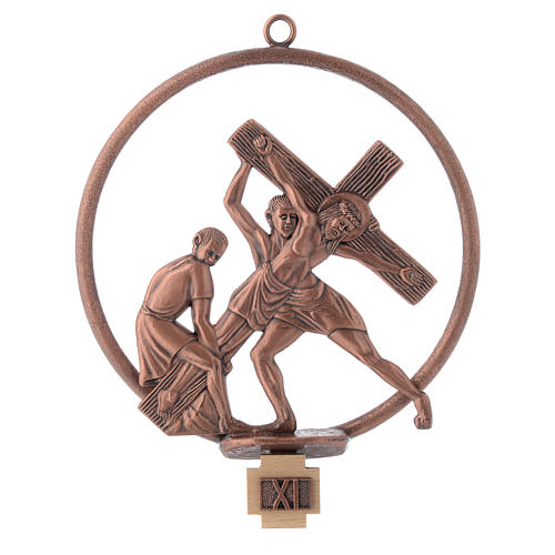 Way of the cross in copper plated bronze, 15 round stations 11