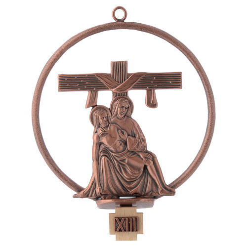 Way of the cross in copper plated bronze, 15 round stations 13