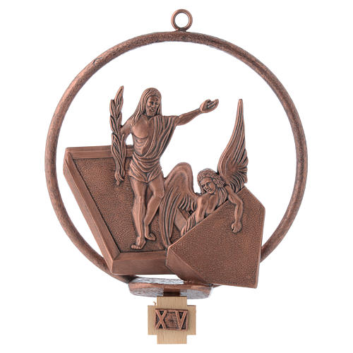 Way of the cross in copper plated bronze, 15 round stations 15