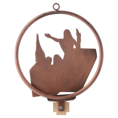 Way of the cross in copper plated bronze, 15 round stations 16