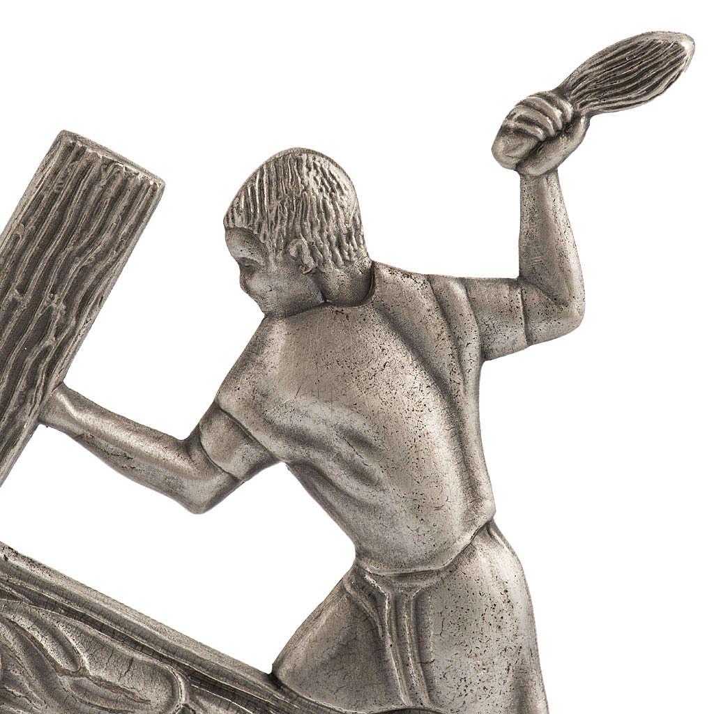 Vía Crucis 15 estaciones estilo moderno bronce plateado 4