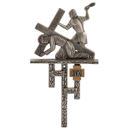 Vía Crucis 15 estaciones estilo moderno bronce plateado 1