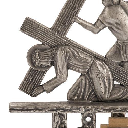Vía Crucis 15 estaciones estilo moderno bronce plateado 2