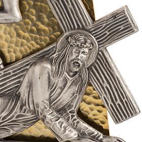 Vía Crucis 15 estaciones bronce martillado dorado s2