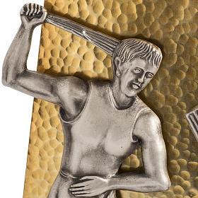 Vía Crucis 15 estaciones bronce martillado dorado s3